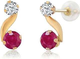 Gem Stone King 0.82 Ct Red Ruby Gemstone Birthstone 14K Yellow Gold Women's Earrings