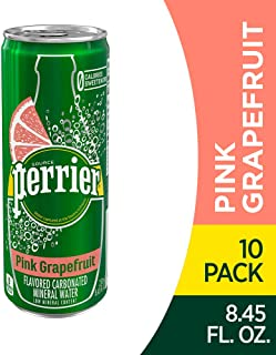 Perrier Pink Grapefruit Flavored Carbonated Mineral Water, 8.45 fl oz. Slim Cans (10 Pack)