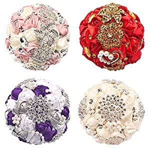 Abbie Home Customization Bride Wedding Bouquet Rose Brooch with Pearls and Rhinestone Decoration brooches Multi Color Selection
