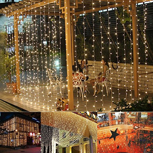 slashome Curtain Lights, Window Curtain Icicle Lights, 29V, 306 LED with 8 Lighting Modes, String Fairy String Light, Warm White 9.8 x 9.8 feet, UL Listed