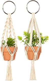Mkono Mini Macrame Plant Car Hanging 2 Pcs Handmade Rear View Mirrior Charm Car Decorations Boho Hanging Planter with Pot and Plant for Car Home Decor Wedding Gift,10.5-Inch