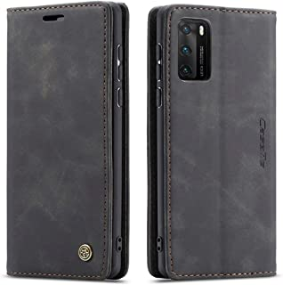 Flip Leather Case For Huawei P40 From CaseMe,Cover Leather case (Black)