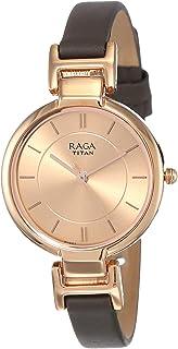 ساعة يد جلد كاجوال دائرية انالوج بعقارب مقاومة للماء للنساء راجا فيفا من تيتان 2608WL01 - رمادي