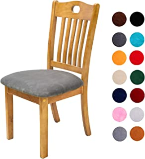Comqualife Soft Velvet Dining Chair Seat Covers, Stretchable Dining Room Upholstered Chair Seat Cushion Cover, Removable Washable Anti-Dust Kitchen Chair Protector Slipcovers - Set of 6, Grey