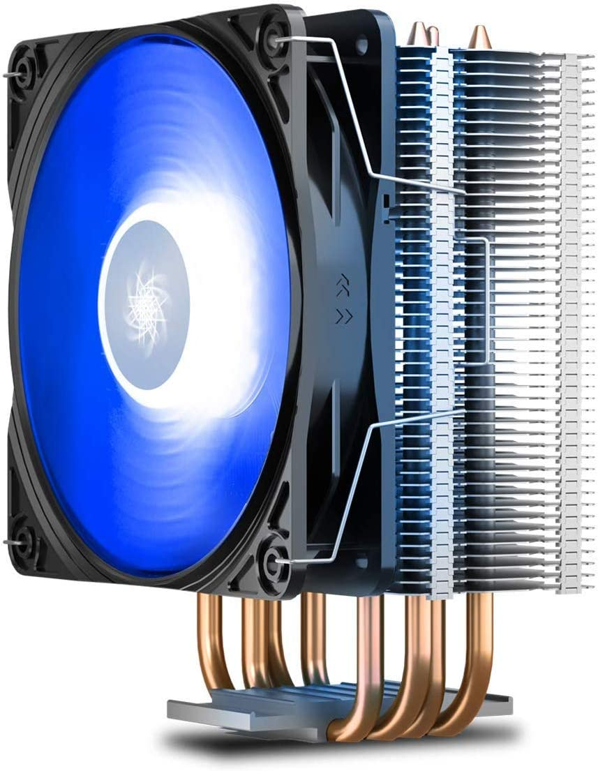 DEEP COOL GAMMAXX400V2 Blue CPU Air Cooler with 4 Heatpipes, 120mm PWM Fan and Blue LED for Intel/AMD CPUs (AM4 Compatible) (GAMMAXX 400 V2 Blue)