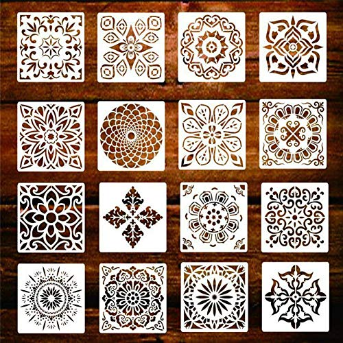 Plantillas de mandala para manualidades, paquete de 16 plantillas de pintura de puntos de mandala reutilizables, plantillas de azulejos de pintura, set de arte de bricolaje (5.9 x 5.9 pulgadas)