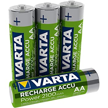 VARTA Rechargeable Akku Ready2Use vorgeladener AA Mignon (2100 mAh Ni-Mh Akku, wiederaufladbar ohne Memory-Effekt, sofort einsatzbereit) 4er Pack