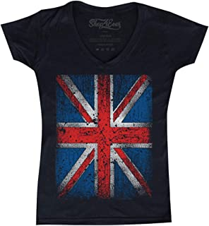 4c8c6ed0 Shop4Ever Vintage Union Jack British Flag Women's V-Neck T-Shirt United  Kingdom Flag