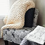 Hygge & Cwtch Chunky Knit Throw Blanket | Giant Yarn Hand Knitted Soft Blankets Free Storage Bag | Vegan Boho Accent Decor Neutral Home Farmhouse Modern Scandinavian (50'x60', Cream)