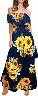 MIDOSOO Womens Side Slit Off Shoulder Ruffled Long Printed Foral Maxi Dress Pockets
