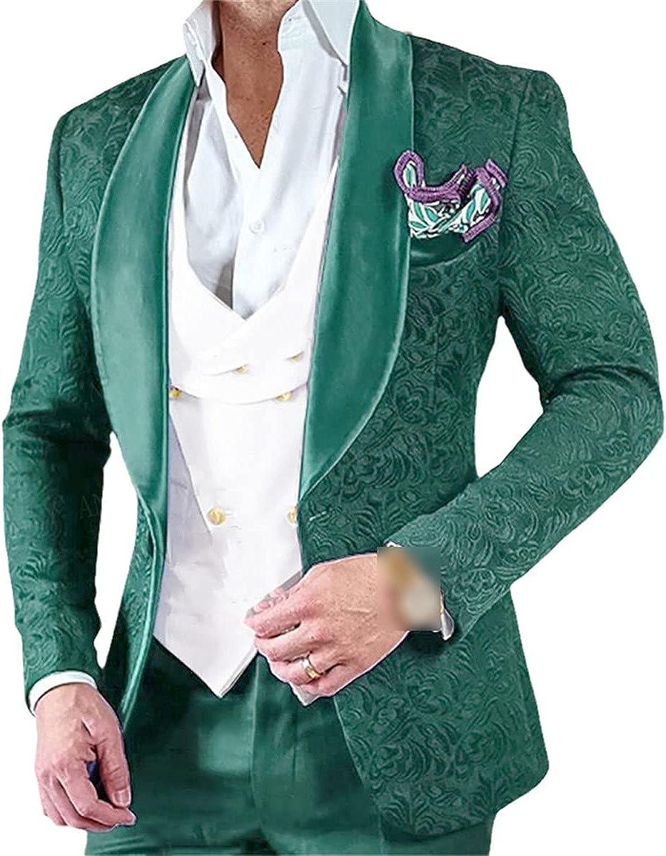 Men's Wedding Suit Pink 3 Pieces Custom Groom Tuxedo Slim Jacquard Blazer Double-Breasted Tank top Pants Suit
