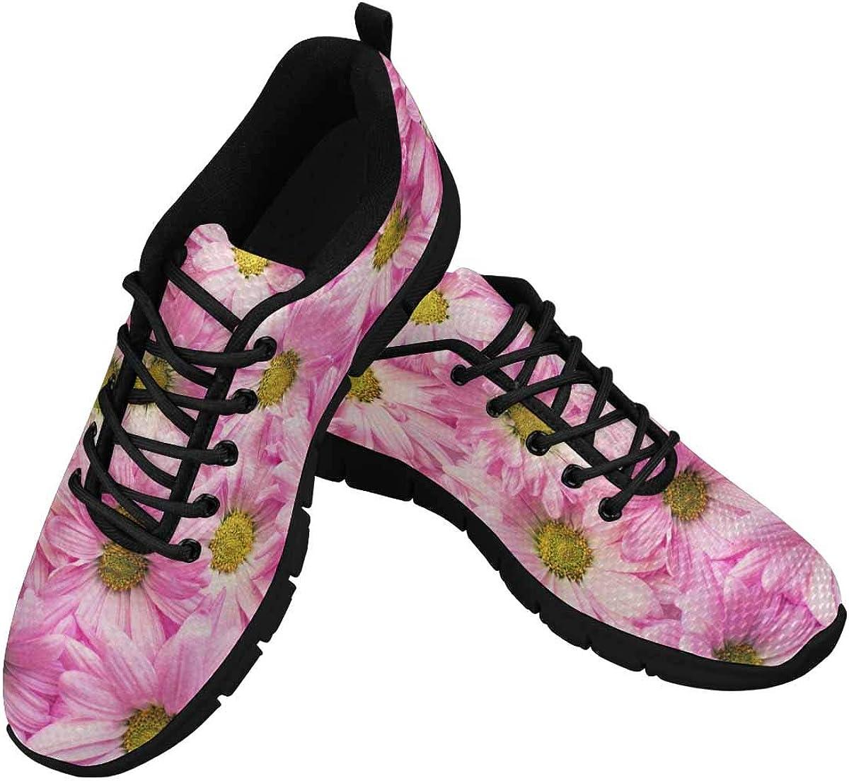 INTERESTPRINT Pink Flowers Background Women's Athletic Walking Shoes Casual Mesh Comfortable Work Sneakers