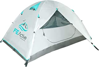 FE Active 2 Person Camping Tent - Four Season 1 to 2 Man Tent 210T Rip-Stop, 3000mm PU Waterproof Coat, Full Rain Fly, Alu...