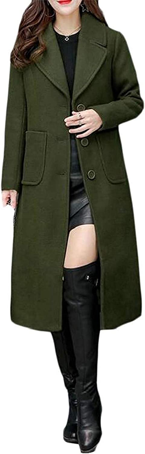 Gbfyefin Women Plus Size Solid Single Breasted Winter Long Trench Pea Coat Jacket Overcoat