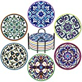 Drink Coasters Set of 6 - Absorbent Mandala Ceramic Coasters with Cork Base, Suitable for Kinds of Cups and Mugs, Protect Your Furniture from Spills Scratches Water Rings and Damage