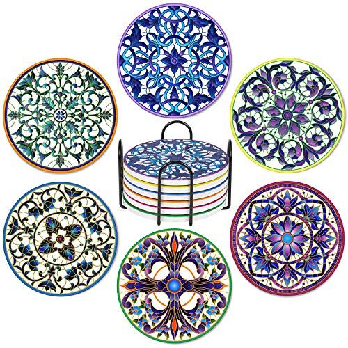 Getränkeuntersetzer, Set mit 6 saugfähigen Mandala-Keramikuntersetzern mit Korkboden, geeignet für Tassen und Becher, schützen Ihre Möbel vor verschütteten Kratzern, Wasserringen und Beschädigungen