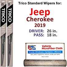 Wiper Blades for 2019 Jeep Cherokee Driver & Passenger Trico Steel Wipers Set of 2 Bundled with Bonus MicroFiber Interior Car Cloth