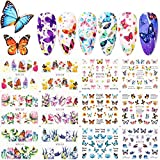 JMEOWIO 12 Sheets Butterfly Nail Art Stickers Water Transfer Nail Decals Flowers Butterfly Designs for Nails Supply Watermark DIY Colorful Butterflies Nail Art Foils for Nails Design