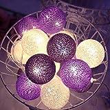 Cadena de luces LED con bolas de algodón, USB, 3,3 m, 20 bolas de algodón, 8 modos,...