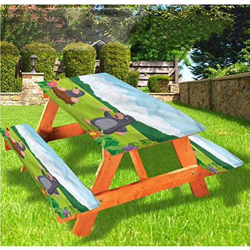 Kids Picnic Table and Bench Fitted Tablecloth Cover,Flower Field Baby Animal Elastic Edge Fitted Tablecloth,28 x 72 Inch, 3-Piece Set for Camping, Dining, Outdoor, Park, Patio