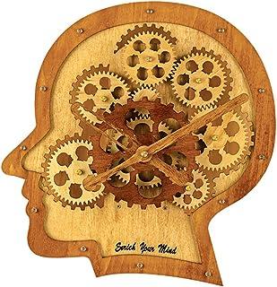 Kintrot 3D Brain Moving Gear Clock Industrial Steampunk Wooden Wall Clock Home Decor