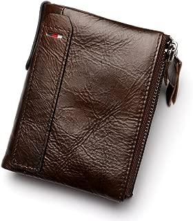 Men's Wallet Anti-Theft Brush Anti-RFID Leather Men's Wallet Multi-Function Men's Vertical Wallet (Color : Brown, Size : S)