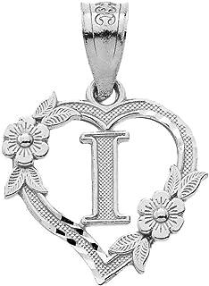 calirosejewelryスターリングシルバー初期ハートペンダントの女性–Letter pendant for women
