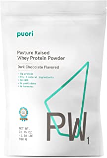 Puori - PW1 Pastured Raised Whey Protein Powder, Non-GMO, 21g Protein, Dark Chocolate, 1.98lbs