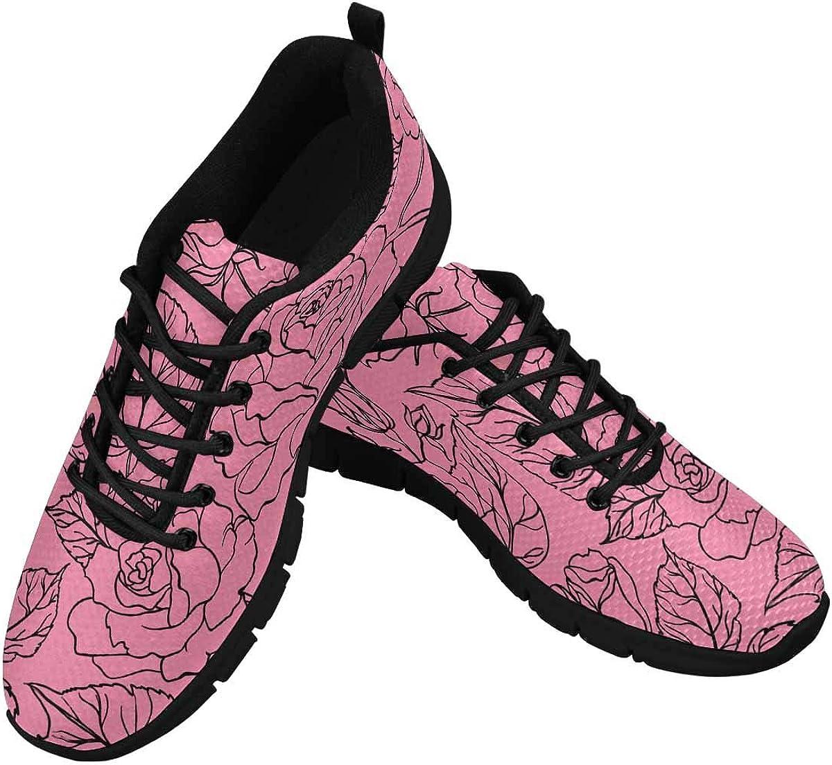 InterestPrint Flower Leaves Pink Women's Athletic Walking Shoes Comfort Mesh Non Slip