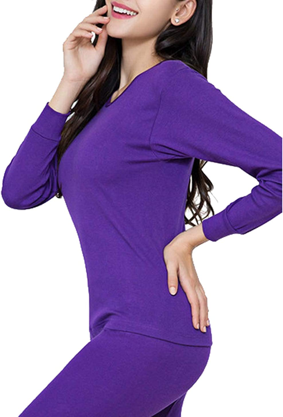 Seaoeey Women's Thin Thermal Underwear Set Base Layer Pjs Long Johns Tops and Bottom for Outdoor and Indoor