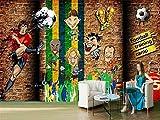 Afashiony Fototapete Für Wohnzimmer Wandbild Premium Tapeten Hd Druck Poster Wandkunst Bild Moderne Wanddekoration Doodle Fußball Sport Hintergrund-200Cmx140Cm