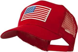 6 Panel Mesh American Flag White Patch Cap