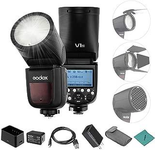 【Godox正規代理】Godox V1N フラッシュストロボ ラウンドヘッド フレネルズーム TTL HSS 高速1/8000s Andoerクリニングクロス付き ニコンD5300 D750 D850 D7100 Z7カメラ ビデオカメラ用 結婚式撮影 肖像画撮影 スタジオ撮影用