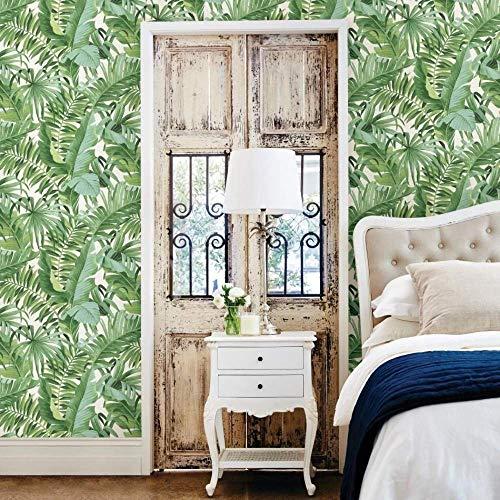 Papel pintado con hojas tropicales, palmera, blanco y verde