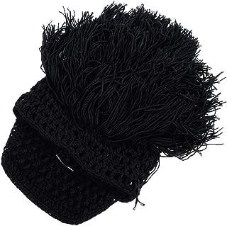 Wiwsi Men Boys Warm Knitted Wig Beard Hat Barbarian Looter Crochet Beanie Caps