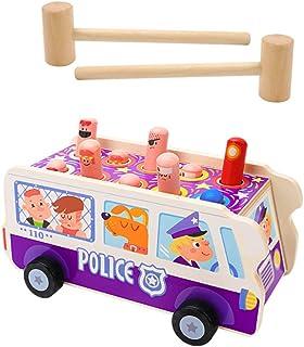 TOYANDONA 1 Set Wooden Pounding Bench Hammering Pounding Toys Police Car Whack- a- mole Toy Educational Toys Montessori To...