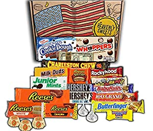 Heavenly Sweets Boite de Bonbons et Chocolat - Assortiment Américain de Friandises - Panier Cadeau pour Enfant et Adulte - Anniversaire, Noël, Calendrier de l'Avent - 23 Bonbons, Boite 30x20x5cm