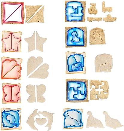 10PCS Fun Cookie Cake Sandwich Cutter Crust Cutters Bread Cutter Shapes for Kids-10 Cute Shapes