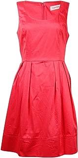 Women's Petite Sleeveless Belted Pleated Dress