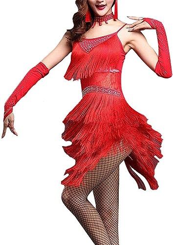 Peggy Gu Robes de Danse pour Femmes Femmes Floral Dentelle Tassel Robe De Danse Latine Outfit Perlée Robe à Franges Flapper Adulte Adulte Rumba Tango Danse Costume De Danse Costumes De Danse