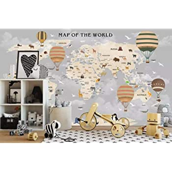 210cm/_3/_stripes Papel pintado 3d de pared infantil personalizado globo de aire caliente dibujos animados animal mapamundi moda papel pintado 3d-About/_300