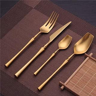Stainless Steel Cutlery Set Gold Dinnerware Set Western Food Cutlery Tableware Dinnerware Christmas Gift forks knives spoons - teal dinnerware