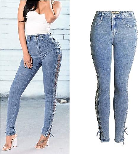 QXYA Pantalones Vaqueros Jeans Mujer Elástico Jeans ...