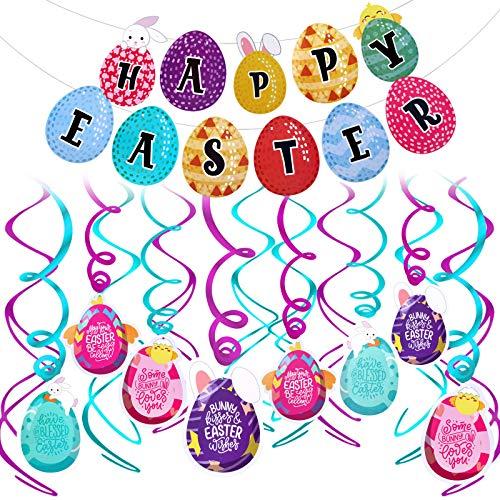 HOWAF Pascua Colgar Decoraciones de Remolino, Huevo de Pascua, Conejito, Remolino de Papel de Aluminio y Feliz Pascua Banderines Guirnalda Techo, Ventana, Pared, Hogar Decoración de Pascua