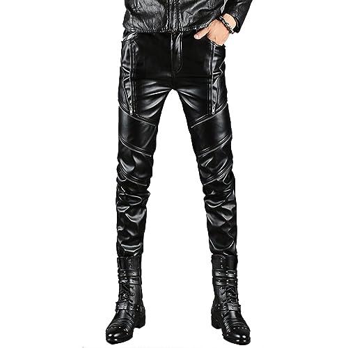 33bf0a873cfc1 Idopy Men`s Black Slim Fit Soft PU Faux Leather Biker Pants