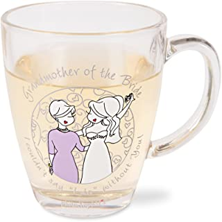 Pavilion Gift Company 71632 Philosophies Grandmother Of The Bride Glass Coffee Tea Mug, Clear