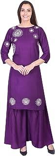 A-TEX INDIA Women's Rayon Embroidered Straight Purple Kurti With Sharara Set