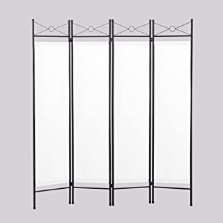 Sandinrayli 4-Panel Steel Room Divider Screen Fabric Folding Partition Home Office Privacy Screen, White