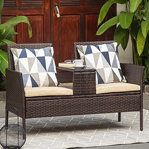M&W Muebles de patio al aire libre, sofá de mimbre con mesa de cristal para balcón, ratán PE Bistro para césped, jardín, patio trasero