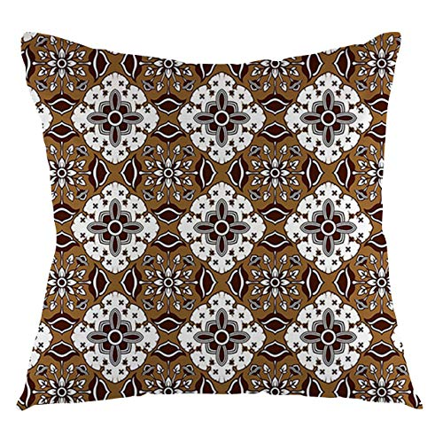 FULIYA Brown Throw Pillow Cushion Cover Leopard Print Animal Skin Digital Printed Wild Safari Themed Spotted Pattern Art Decorative Square Accent Pillow Case, 16' X 16',Brown